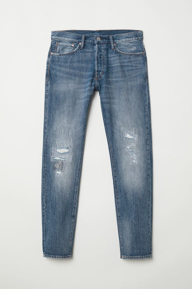 Slim Straight Jeans - Blue/Trashed - Men | H&M GB