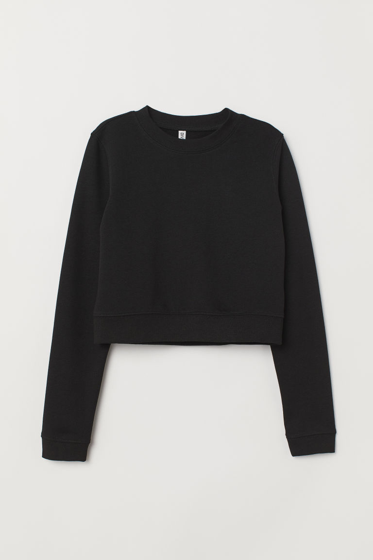 Short sweatshirt - Black -  | H&M