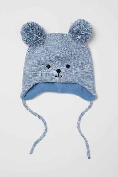 Fleece-lined hat - Blue marl - Kids | H&M CN