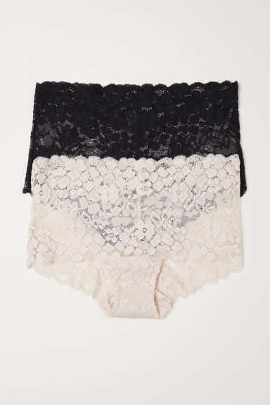 2-pack lace shortie briefs - Powder - Ladies | H&M CN