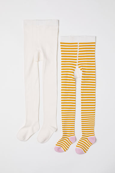 2-pack fine-knit tights - Natural white/Yellow striped - Kids | H&M CN