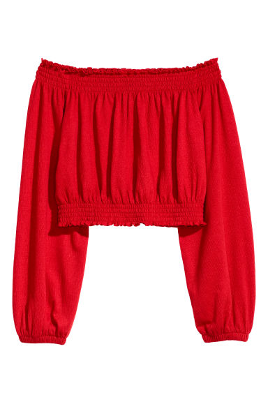 Off-the-shoulder top - Red -  | H&M