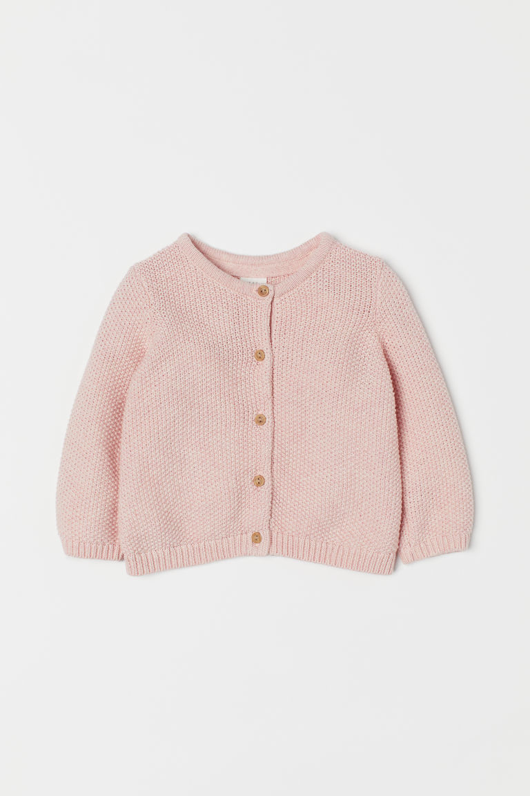Moss-knit cardigan - Light pink marl - Kids | H&M