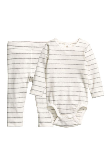 Bodysuit and trousers - Natural white/Grey striped -  | H&M
