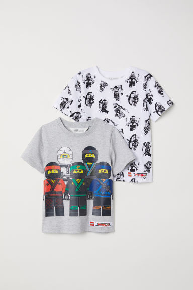 2-pack T-shirts - Light grey/Lego Ninjago - Kids | H&M