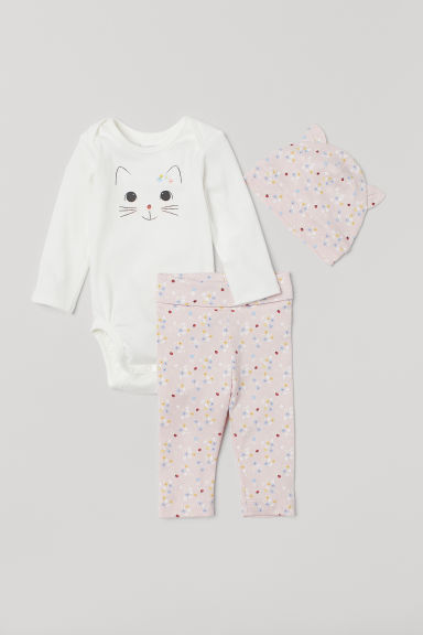 3-piece jersey set - Light pink/Floral - Kids | H&M