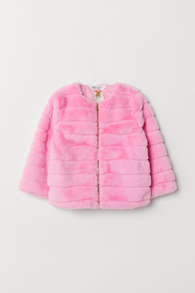 Faux fur jacket - Pink - Kids | H&M CN