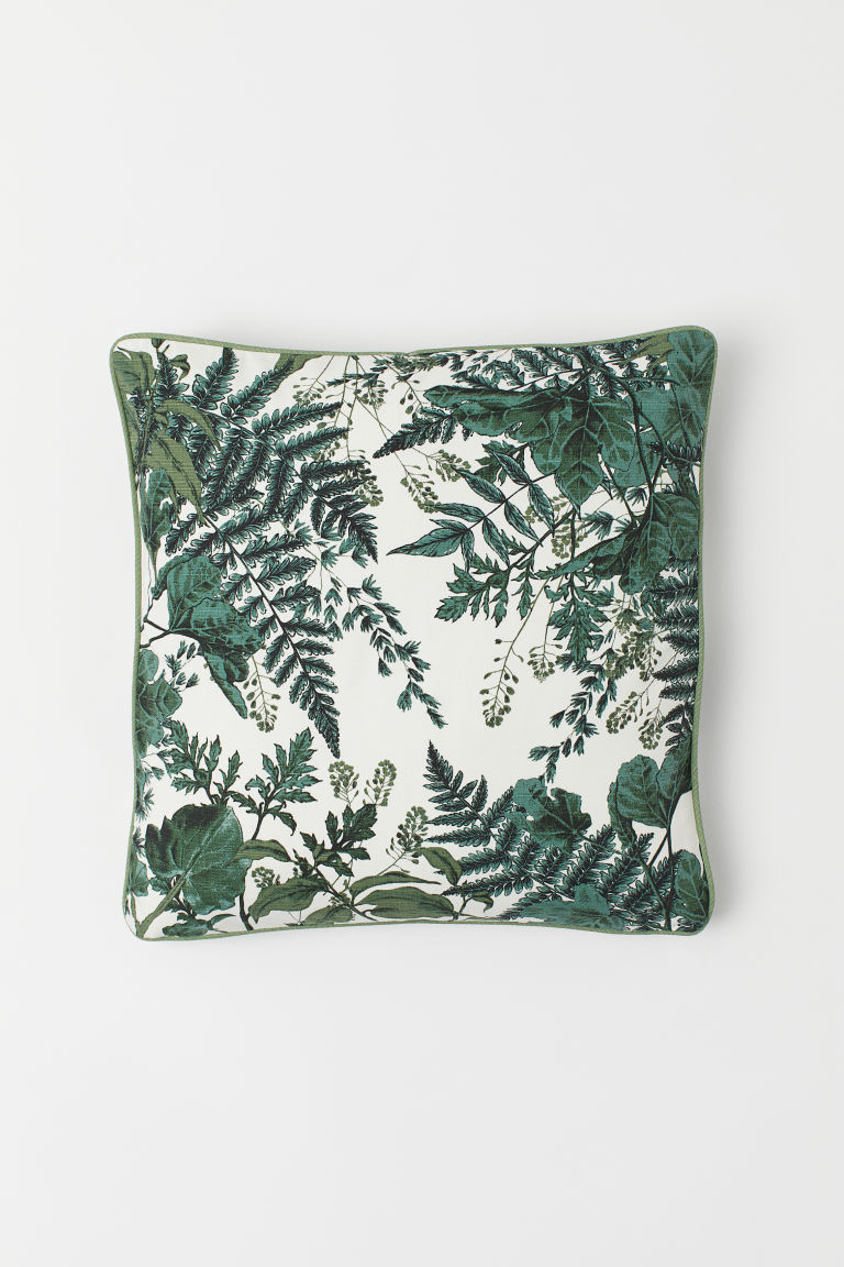 Patterned Cushion Cover - White/leaves - Home All | H&M CA