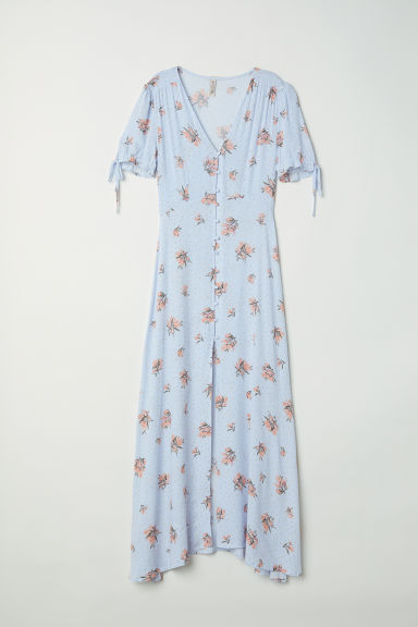 Button-up dress - Light blue/Floral - Ladies | H&M CN
