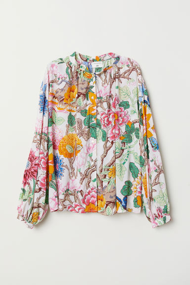 Patterned blouse - Light beige/Floral - Ladies | H&M