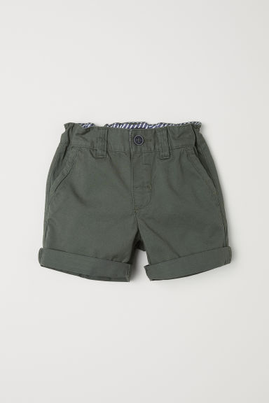 Cotton shorts - Dark khaki green - Kids | H&M