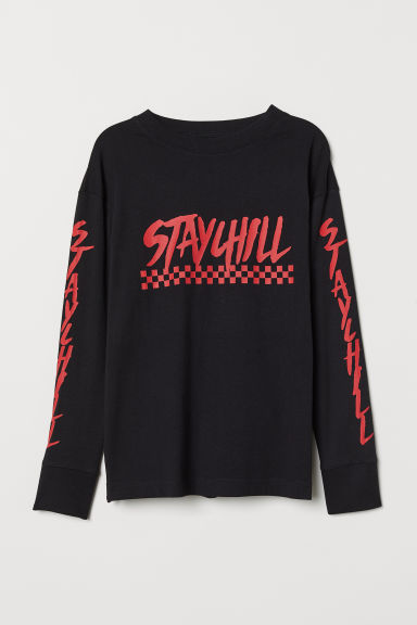 Long-sleeved top - Black/Stay Chill - Kids | H&M