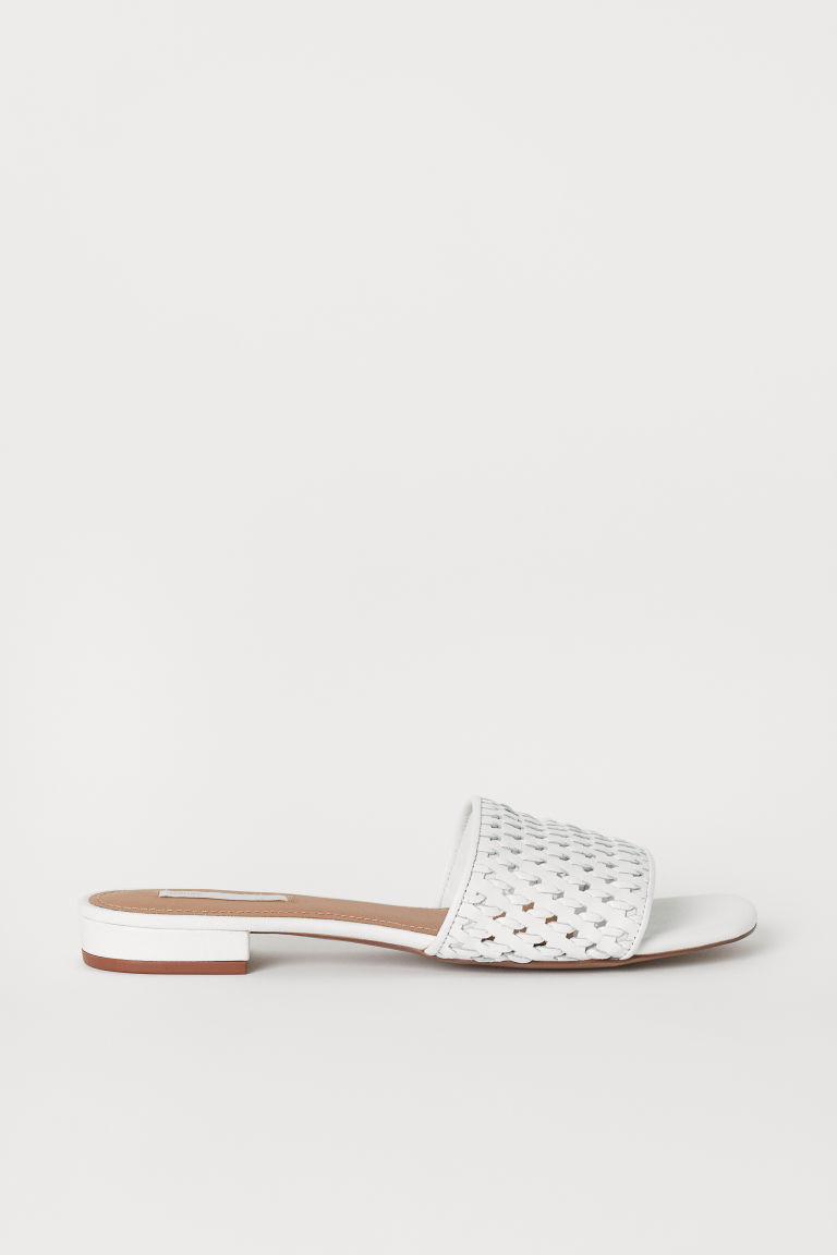 Leather slides - White - Ladies | H&M