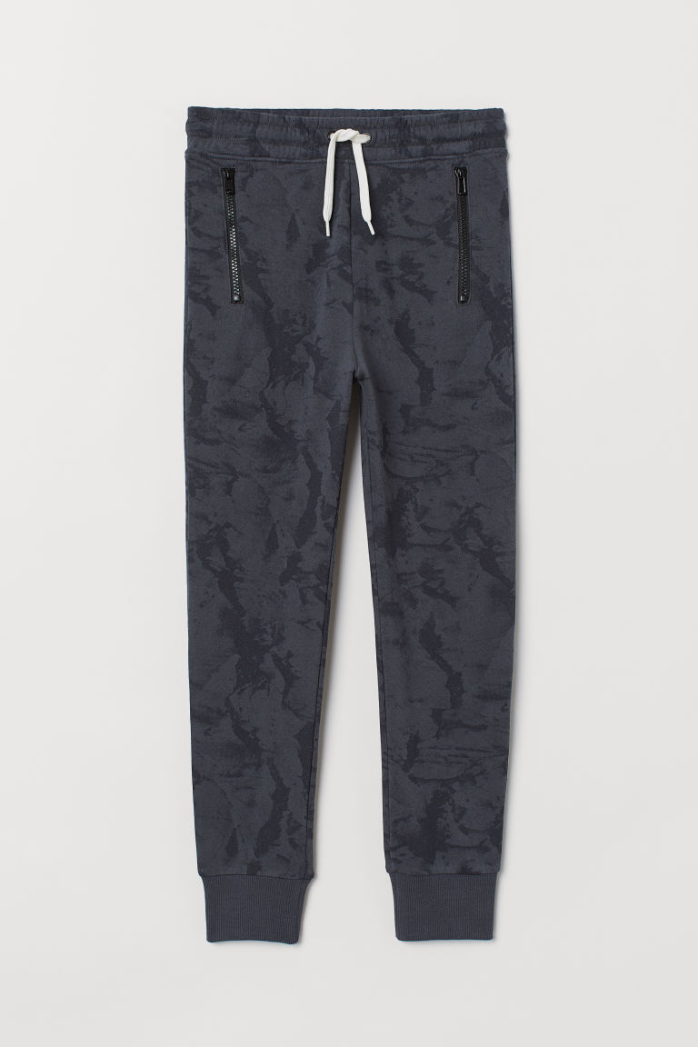 Joggers - Dark grey/Marble-patterned - Kids | H&M CN