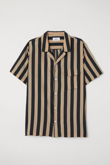 Cupro-blend resort shirt - Beige/Black striped - Men | H&M