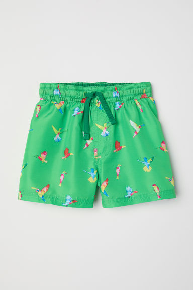 Patterned swim shorts - Green/Birds -  | H&M CN
