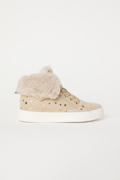 Warm-lined hi-tops - Beige/Stars - Kids | H&M CN