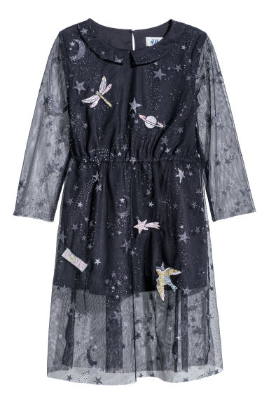 Dress with a motif - Dark blue/Stars - Kids | H&M