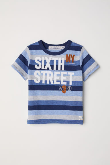 T-shirt with appliqués - Grey/Striped - Kids | H&M