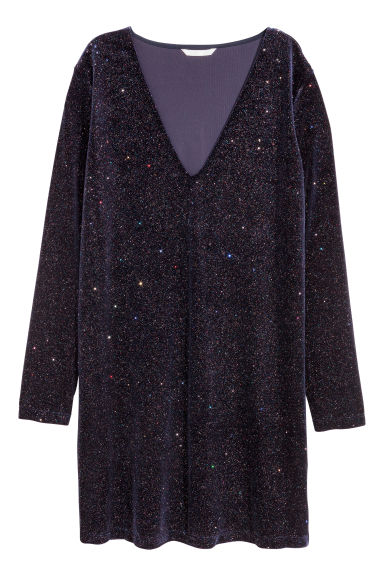 Abito glitter - Blu navy/glitter - DONNA | H&M IT