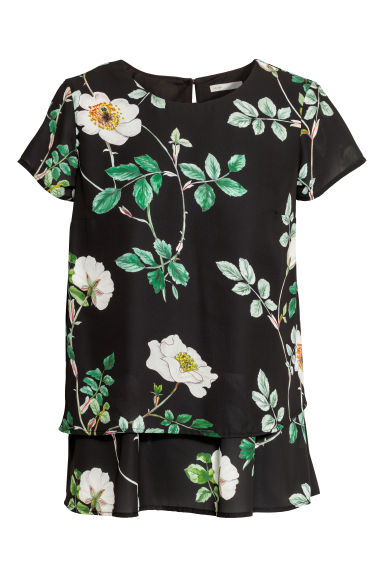 MAMA Crêpe nursing top - Black/Floral -  | H&M