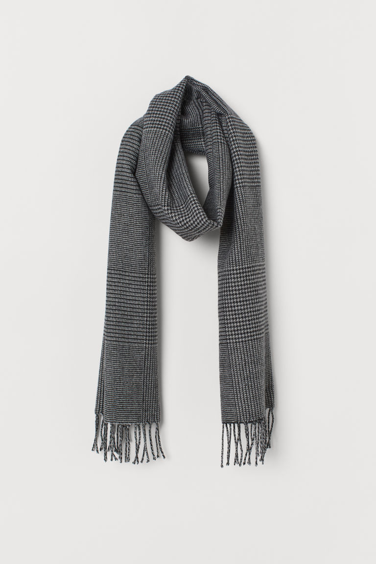 Patterned Scarf - Dark gray/houndstooth-pattern - Men | H&M US