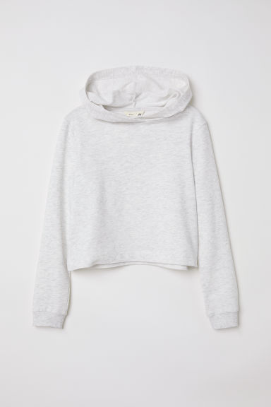 Short hooded top - Light grey marl - Kids | H&M