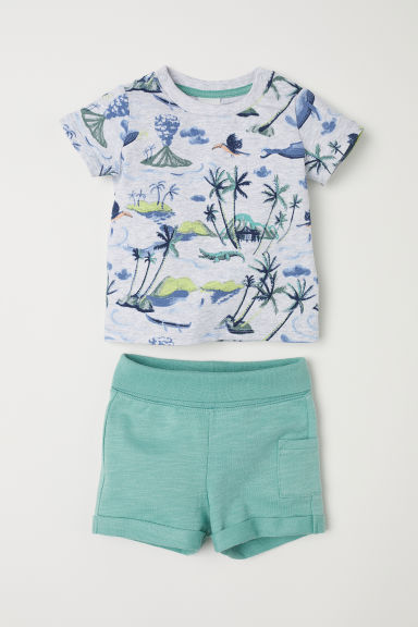 T-shirt and shorts - Dusky green/Patterned -  | H&M CN
