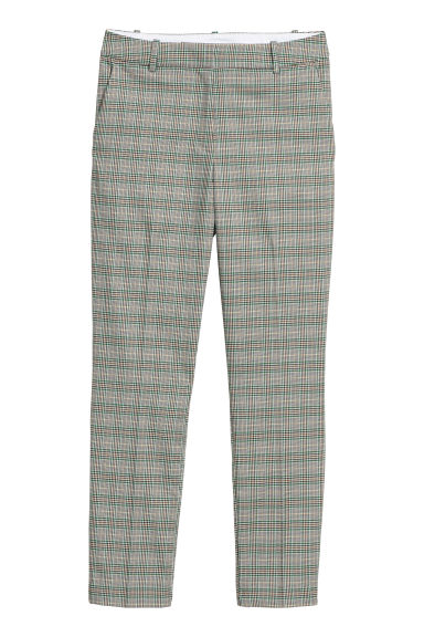Cigarette trousers - Grey/Green checked - Ladies | H&M GB
