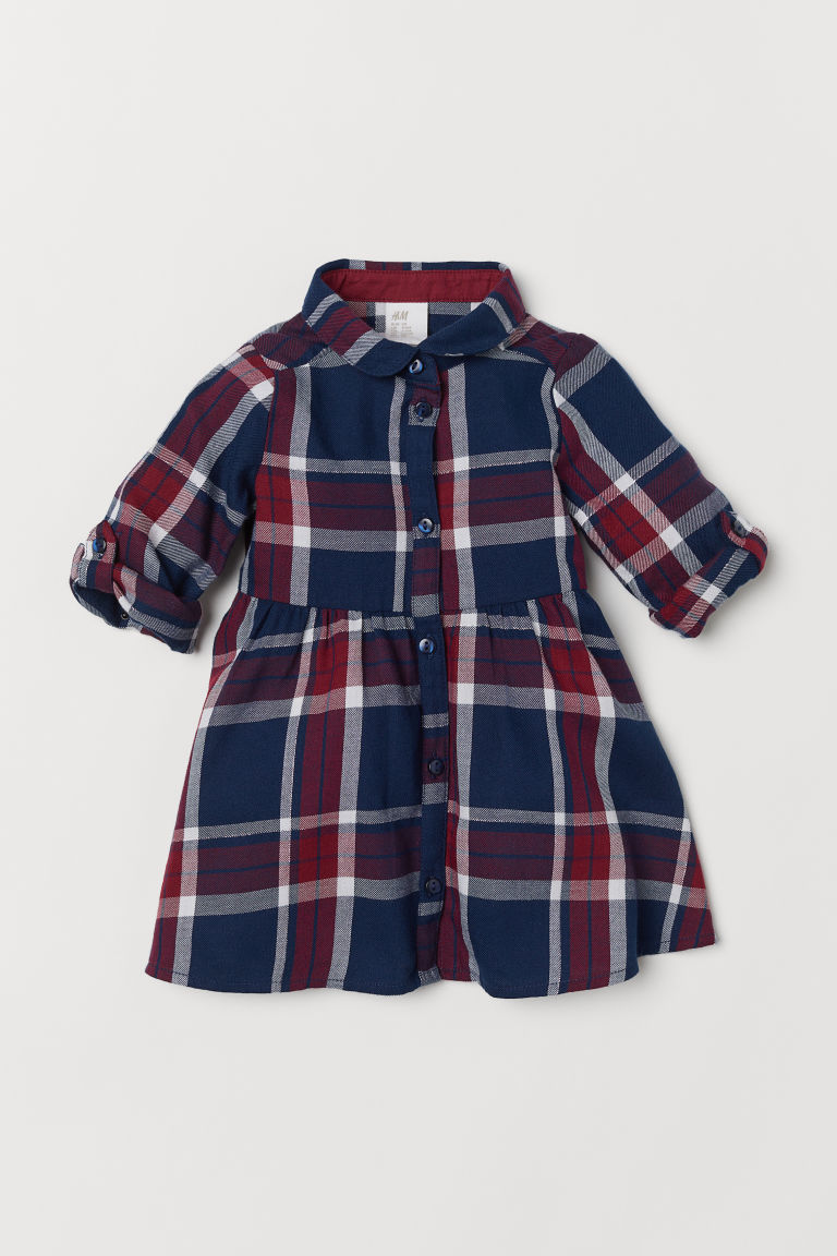 Checked shirt dress - Dark blue/Checked - Kids | H&M