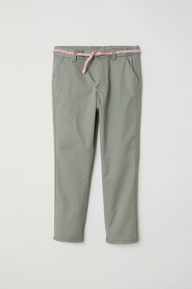 Cotton twill chinos - Dusky green -  | H&M