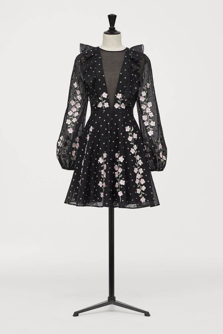 Dress with embroidery - Black - Ladies | H&M