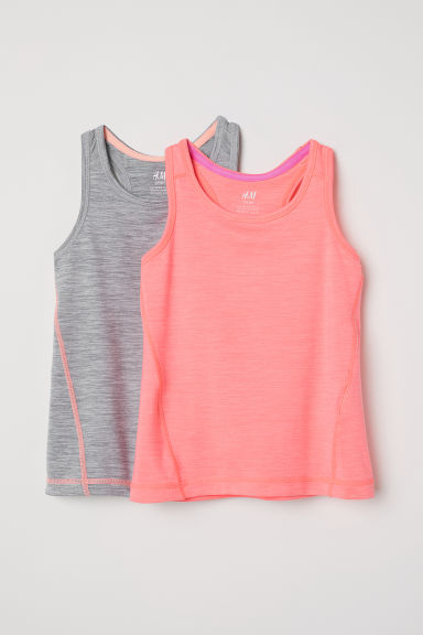2-pack sports vest tops - Neon pink/Grey marl - Kids | H&M CN