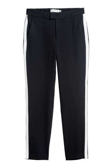Trousers with side stripes - Black/White - Ladies | H&M