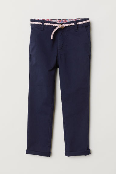 Chinos with belt - Dark blue - Kids | H&M GB