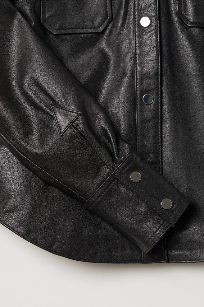 e95b974c2cda Leather Shirt - Black - | H&M ...