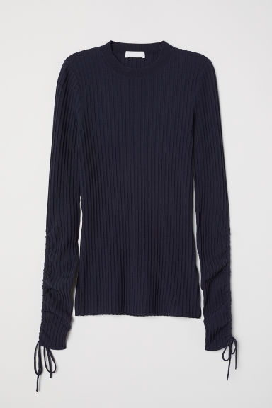Pullover misto cotone a coste - Blu scuro - DONNA | H&M IT