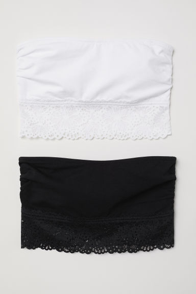 2-pack cotton bandeau bras - Black/White - Ladies | H&M CN