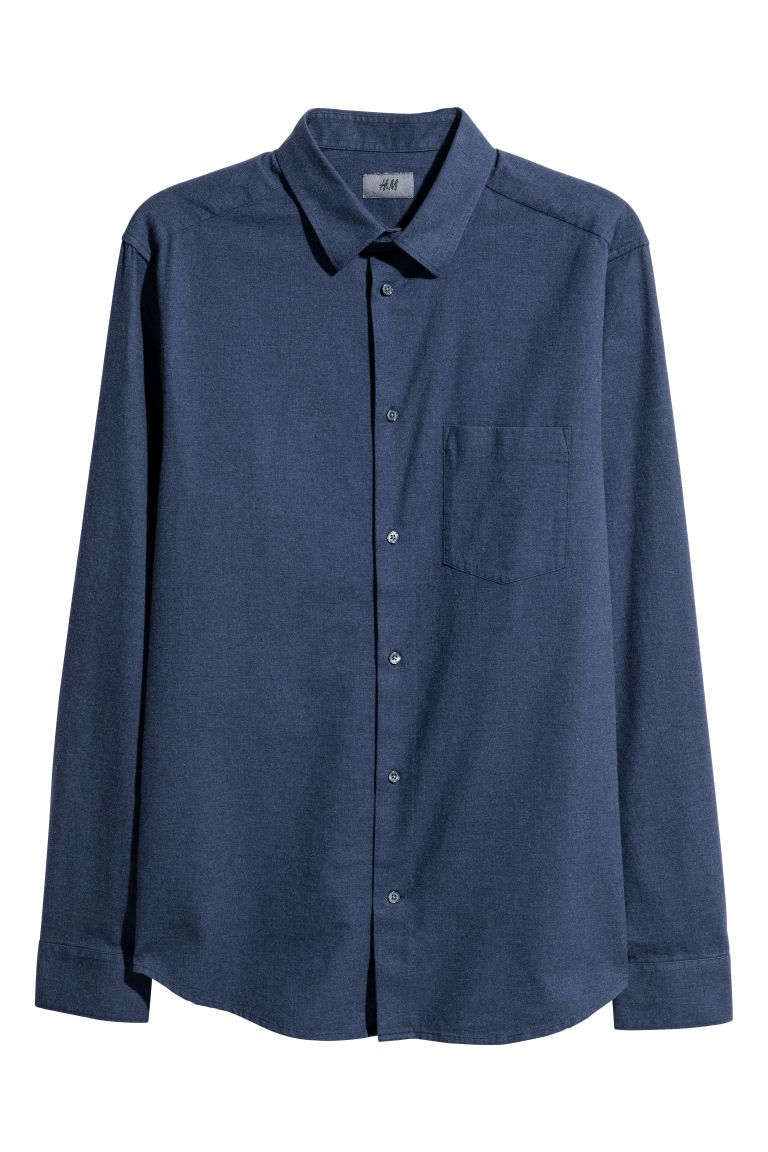 Regular Fit Flannel Shirt - Dark blue melange - Men | H&M CA