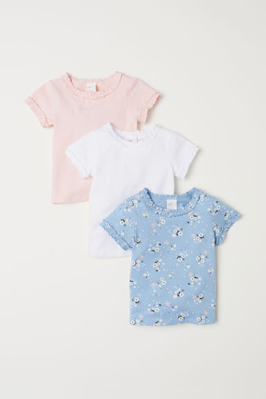 3-pack T-shirts - Light blue/Floral - Kids | H&M CN