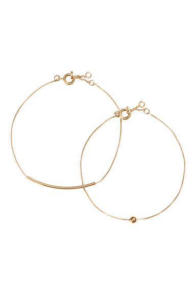 2-pack gold-plated bracelets - Gold-coloured - Ladies | H&M