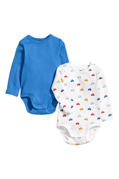 2-pack long-sleeved bodysuits - Bright blue/Cars - Kids | H&M