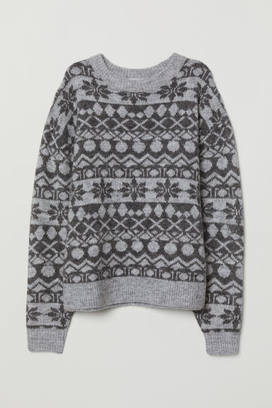 Jacquard-knit Sweater - Gray - Ladies | H&M US