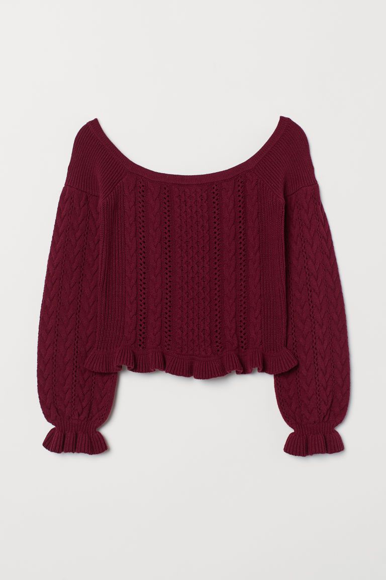 Off-the-shoulder jumper - Burgundy - Ladies | H&M