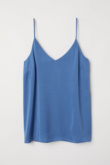 V-neck satin top - Pigeon blue - Ladies | H&M