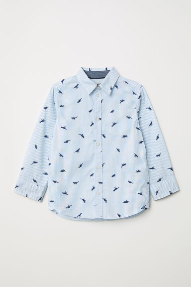 Cotton shirt - Light blue/White striped - Kids | H&M