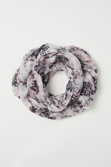 Patterned tube scarf - Light beige/Pink floral - Ladies | H&M