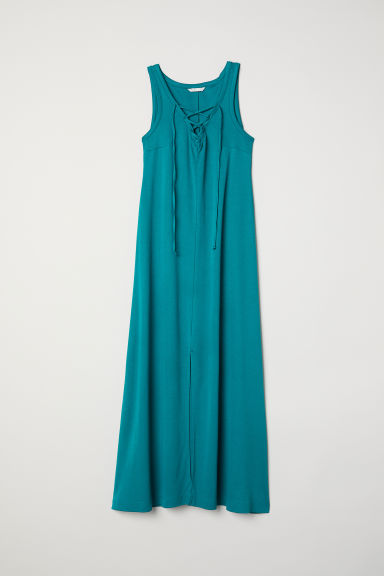 MAMA Dress with lacing - Emerald green -  | H&M