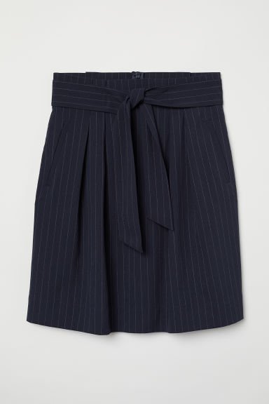 Skirt with a tie belt - Dark blue/Pinstriped - Ladies | H&M CN