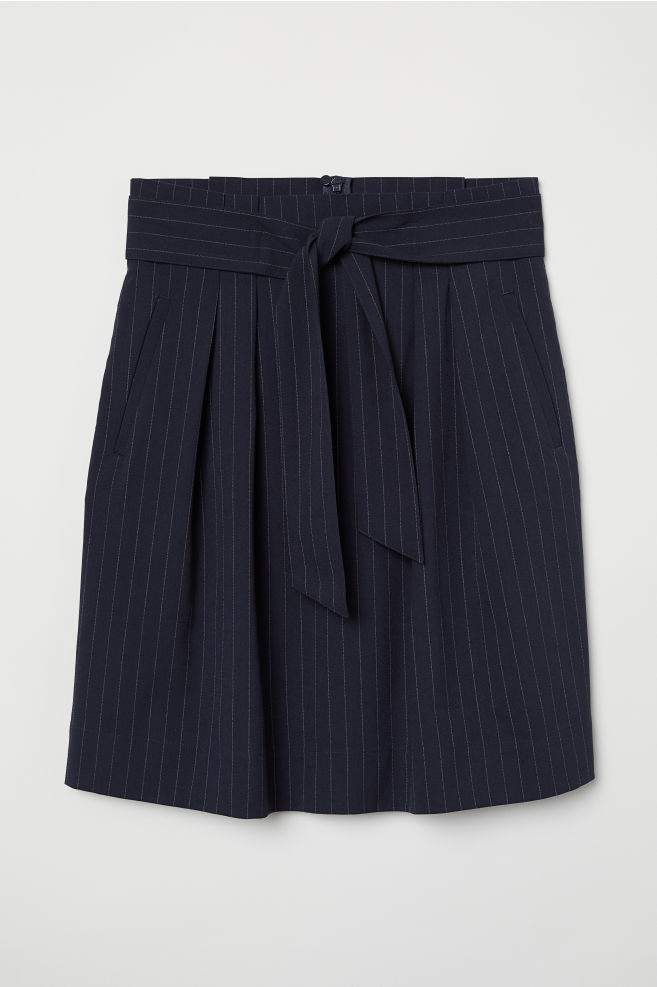 b37bc35427f1 Skirt with Tie Belt - Dark blue/chalkstripe - Ladies | H&M ...